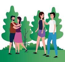 casais de amantes fofos no parque personagens vetor