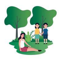 mãe com filho e filha personagens familiares vetor