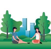 casal de amantes fofos sentados nos personagens do parque vetor