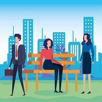 empresários sentados na cadeira do parque