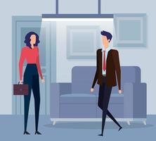 Negócios elegantes casal trabalhadores na sala de estar