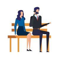 casal de negócios ligando com o celular na cadeira do parque vetor