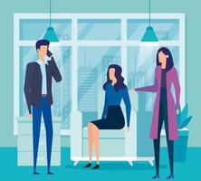 empresários elegantes trabalhadores ligando com o celular na sala de estar vetor
