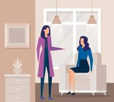 elegantes empresárias trabalhadoras na sala de estar