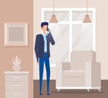 trabalhador empresário ligando com smartphone na sala de estar