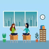 trabalhadoras elegantes no escritório