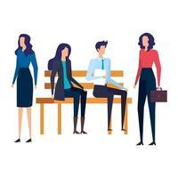 empresários sentados na cadeira do parque vetor