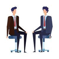 trabalhadores elegantes empresários sentados em cadeiras de escritório vetor