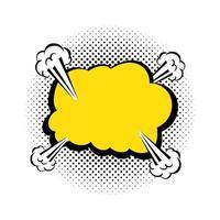 ícone de estilo pop art de explosão de nuvem de cor amarela vetor