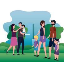 grupo de pais com filhos no parque vetor