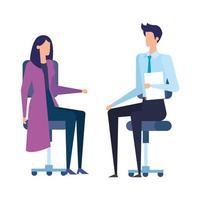 Negócios elegantes casal trabalhadores em cadeiras de escritório