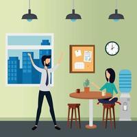 Negócios elegantes casal trabalhadores no escritório vetor