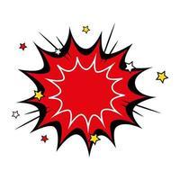 ícone de estilo pop art de explosão de cor vermelha vetor