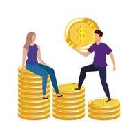 jovem casal com personagens de avatares de moedas e dinheiro vetor