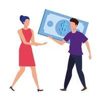 jovem casal com personagens de notas de dólares vetor