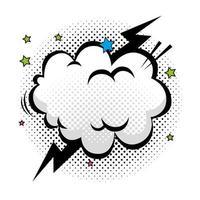 nuvem com ícone de estilo pop art de raio e estrelas vetor