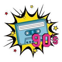 cassete dos anos noventa em explosão pop art