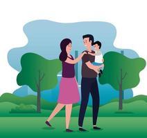 casal de pais com filho pequeno nos personagens do parque vetor