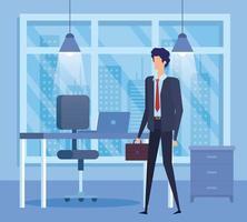 trabalhador elegante empresário no cenário do escritório vetor