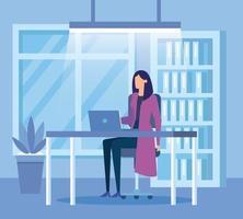 trabalhador elegante empresária no escritório vetor