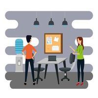 Negócios elegantes casal trabalhadores no escritório