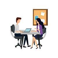 casal de negócios elegante trabalhando com laptop