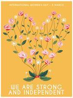 Cartaz internacional do coração da flor do dia das mulheres
