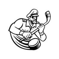 general do exército com taco de hóquei no gelo mascote de esportes preto e branco