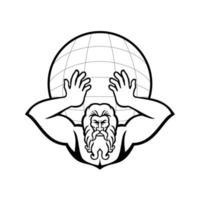 atlas segurando o mascote com vista frontal do mundo em preto e branco vetor