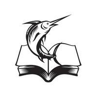 peixe marlin azul pulando de livro xilogravura retrô preto e branco vetor