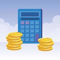 calculadora matemática com moedas de dinheiro vetor