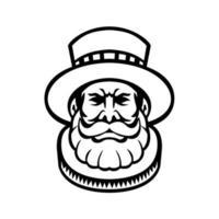 beefeater alabardeiros da guarda ou chefe dos guardas - mascote preto e branco vetor