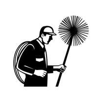 varredor de chaminés segurando um limpador ou vassoura e vista lateral de corda retro preto e branco vetor