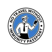 oficial de imigração inspecionando ícone do passaporte de imunidade vetor