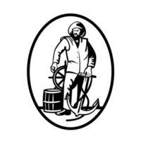 pescador comercial ao leme com âncora e barril de madeira retro preto e branco vetor