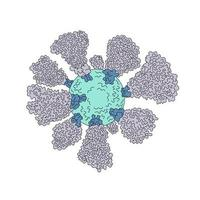desenho de linha microscópico de célula de coronavírus vetor