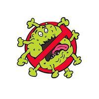 Pare o sinal de desenho de coronavírus