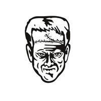 cabeça do monstro do doutor victor frankenstein vista frontal estêncil preto e branco estilo retro