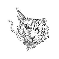 desenho de vista frontal da cabeça de um meio dragão chinês meio tigre de bengala