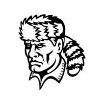 herói folk americano e mascote davy crockett, mascote preto e branco