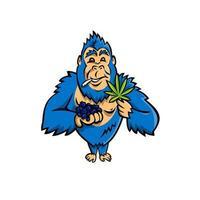 gorila segurando mascote de mirtilo e folha de cannabis