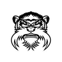 cabeça do macaco mico-imperador vista frontal mascote preto e branco