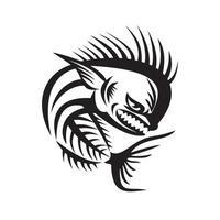 mahi-mahi dorado peixe-golfinho zangado esqueleto retro preto e branco vetor