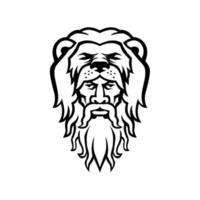Hércules vestindo pele de leão mascote preto e branco