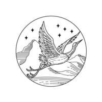 garça azul voando sobre montanhas com estrelas círculo mono estilo de linha preto e branco