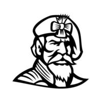 chefe de jacobita highlander vestindo boina mascote preto e branco vetor