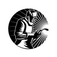 soldador mig solda a arco com tocha de soldagem círculo vista lateral retro preto e branco vetor