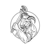 cabra marinha segurando círculo chave inglesa preto e branco vetor