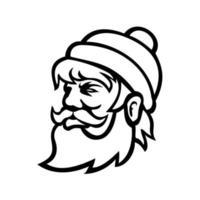 cabeça de paul Bunyan lenhador mascote vista lateral preto e branco vetor