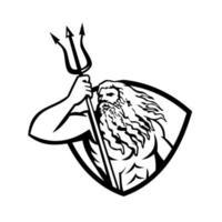 Netuno ou Poseidon com tridente olhando para um escudo lateral retrô preto e branco vetor
